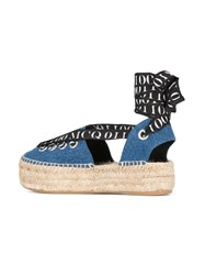Mcq By Alexander Mcqueen Lace Up Espadrilles Women Cotton Leather Rubber 38 Blue