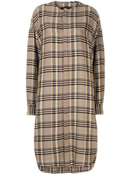 Bassike Cutout Detail Plaid Midi Shirt Dress Yellow