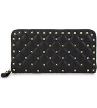Valentino Rockstud Quilted Leather Continental Wallet Blk Gold