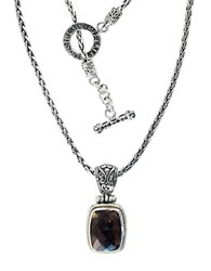 Effy Balissima Sterling Silver And 18K Yellow Gold Smokey Quartz Pendant Brown