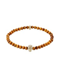 Northskull Yellow Tiger Eye Golden And Clear Crystal Micro Skull Bracelet