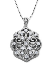 Giani Bernini Cubic Zirconia Scalloped Filigree Heart Locket 18 Pendant Necklace In Sterling Silver Created For Macy's