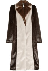 Edun Color Block Faux Fur Coat Chocolate