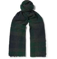 Begg And Co Beaufort Fringed Checked Lambswool Cashmere Blend Scarf Multi