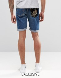 Reclaimed Vintage Mid Length Levi's Shorts With Pocket Patch Blue