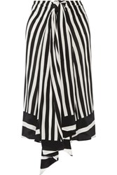 Tome Tie Front Striped Silk Georgette Midi Skirt Black