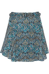 Joie Earlene Printed Silk Chiffon Mini Skirt Blue