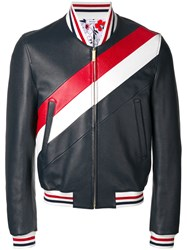 Thom Browne Striped Varsity Jacket Blue