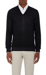 Ermenegildo Zegna Men's Wool Silk Pique V Neck Sweater Brown
