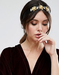 Asos Occasion Pretty Metal Flower Headband Black