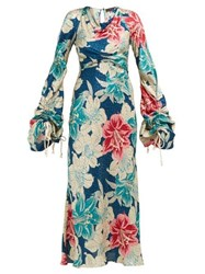 Etro Tamarindo Beach Silk Jacquard Dress Blue Multi