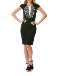 Laundry By Shelli Segal Ponte Knit And Lace Colorblock Sheath Dress Black