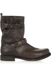Rag And Bone Moto Textured Leather Biker Boots Brown
