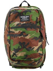 Master Piece Pop'n'pack Backpack Men Leather Nylon One Size Green