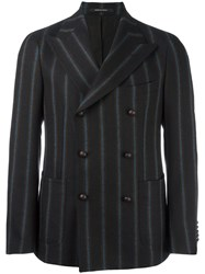 Tagliatore Pinstripe Double Breasted Jacket Brown