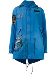 Mr And Mrs Italy Embroidered Hooded Parka Women Cotton Xxs Blue