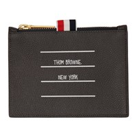 Thom Browne Grey Small Inverted Tbny Paper Label Coin Purse