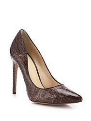 Alexandre Birman Caddy Crocodile Point Toe Pumps Brown