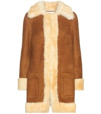 Saint Laurent Suede And Shearling Coat Brown