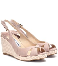 Jimmy Choo Amely 80 Suede Wedge Sandals Pink