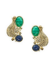 House Of Harlow Stone And Feather Clustered Earrings Green Blue