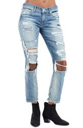 True Religion Women's Brand Jeans Ripped Straight Leg Jeans Schools Out