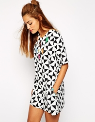 Native Rose Monochrome Aline Shift Dress With Cowgirl Applique Multi