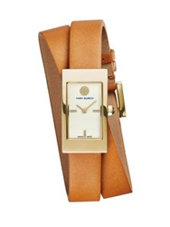 Tory Burch Buddy Signature Goldtone Stainless Steel And Leather Double Wrap Strap Watch Brown Goldtone Tan