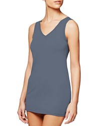Fine Lines Pure Cotton V Neck Camisole Denim
