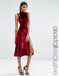 Asos Tall Velvet Midi Dress With Splices And Cut Out Shoulder Detail Wine Red