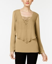Ny Collection Lace Up Layered Look Blouse Tan