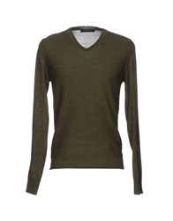 Vneck Sweaters Military Green
