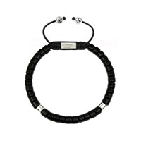 Clariste Jewelry Men's Ceramic Bead Bracelet Black And Silver