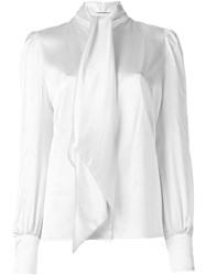 Saint Laurent Neck Tie Blouse White