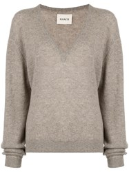Khaite V Neck Jumper Grey