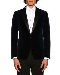 Dsquared Velvet Evening Jacket W Satin Lapel Navy