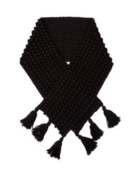 Max Mara Pure Wool Chunky Knit Scarf Black