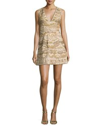Alice Olivia Sleeveless Embellished Silk Cocktail Dress Light Yellow