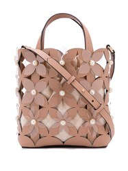 Zac Posen Floral Bouquet Small North South Shopper Bag Neutrals