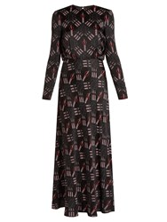 Valentino Love Blades Print Satin Crepe Gown Black