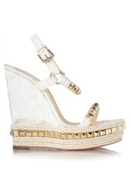 Christian Louboutin Cataclou Embellished 140Mm Wedges White Gold