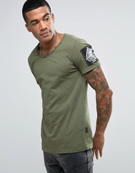 Replay Raw Edge Snake Badge T Shirt Hole Distressing Green