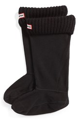 Women's Hunter Tall Cardigan Knit Cuff Welly Socks Black
