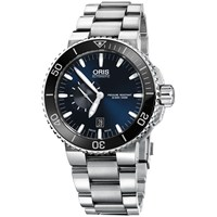 Oris 01 733 7653 4137 07 8 26 01Peb Men's Aquis Small Second Date Bracelet Strap Watch Silver Midnight Blue