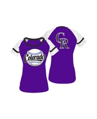 5Th And Ocean Women's Colorado Rockies Athletic Baseball T Shirt Purple