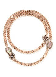 Miriam Haskell Floral Crystal Station Chunky Curb Chain Necklace Pink Metallic