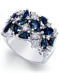 Macy's Sapphire 3 1 6 Ct. T.W. And Diamond 7 8 Ct. T.W. Wide Ring In 14K White Gold Blue