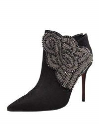 Carrano Paige Leather Beaded Bootie Black