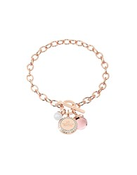 Rebecca Hollywood Stone Rose Gold Over Bronze Chain Bracelet W Hydrothermal Pink Stone And Glass Pearl