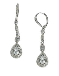 Nadri Rhodium Plated Cubic Zirconia Linear Drop Earrings Clear